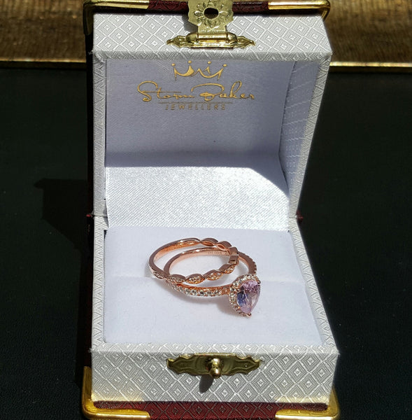 Morgan Ring Set - Natural Diamonds & Morganite
