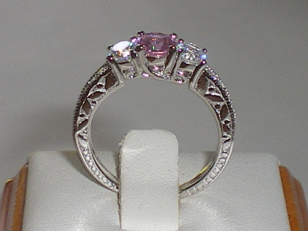 Pink and White Sapphire Trilogy Eternity Ring
