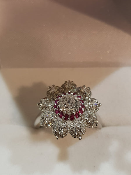 Luxury Natural Diamond and Ruby Cluster Ring