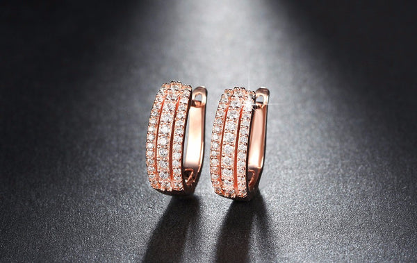 Triple Row Pave Set Earrings
