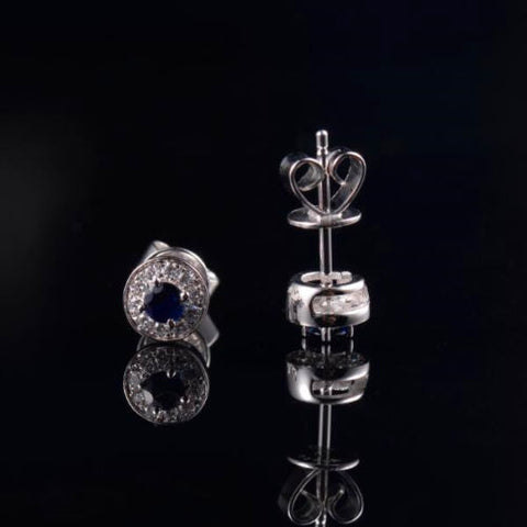 Solid 14k Sapphire and Diamond Earrings