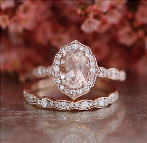 Ayda Vintage Morganite Wedding Set