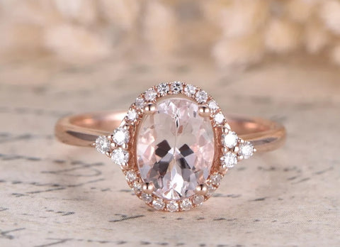1ct Sam Morganite and Diamond Ring