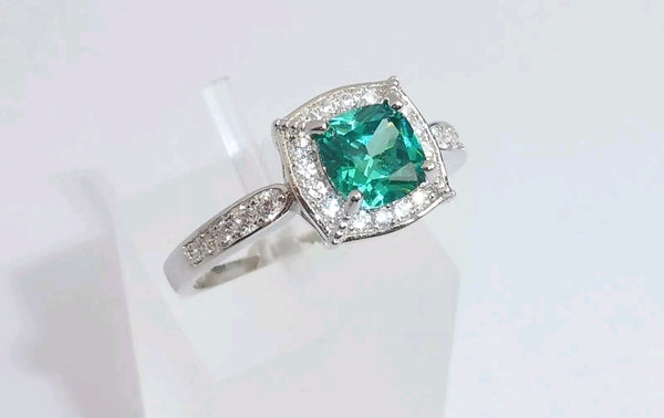 Lab Emerald Cushion Cut Ring