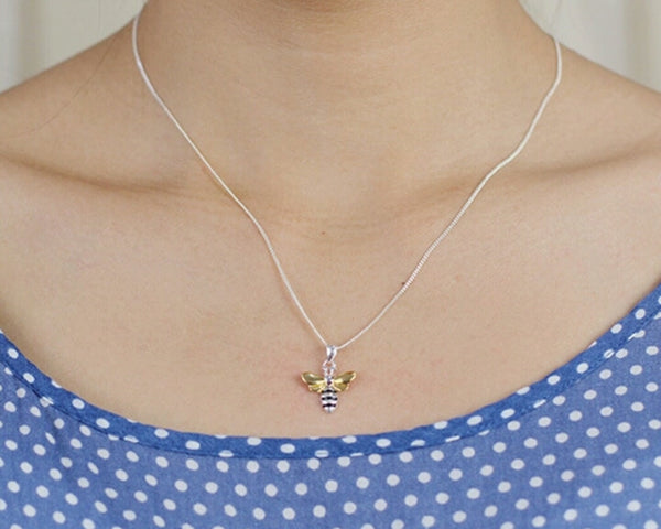 Necklace - 'Golden Honey Bee' Silver & Gold - Marigold Collection