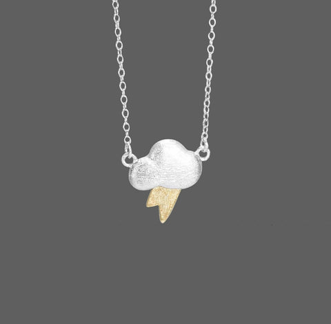 Necklace - 'Lightning Cloud' Silver & Brushed Gold - Marigold Collection