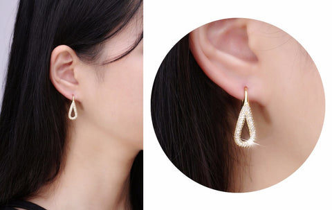 Pave Set Drop Earrings