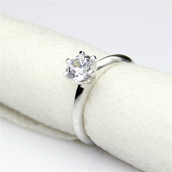 6 Claw Solitaire Ring - Silver