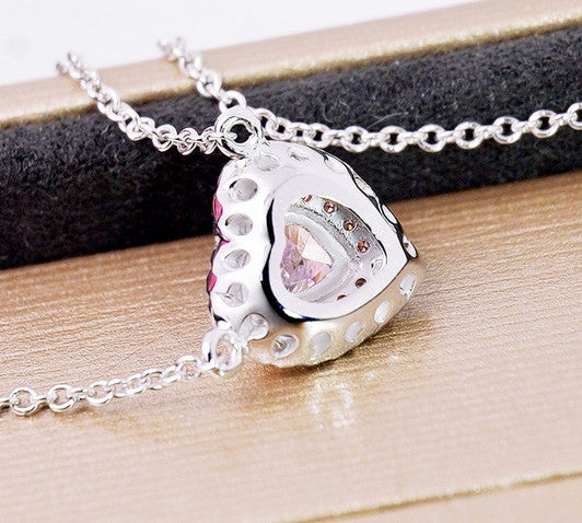 Two-Tone Pink Heart Necklace
