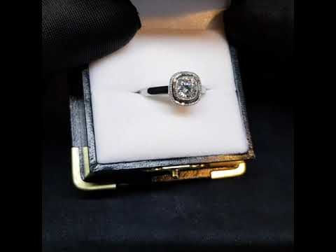 White Gold Rub Over Ring with Milgrain- Custom 0055