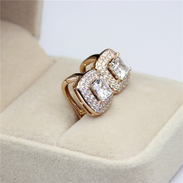 14K Solid Gold Princess Cut Double Halo Earrings