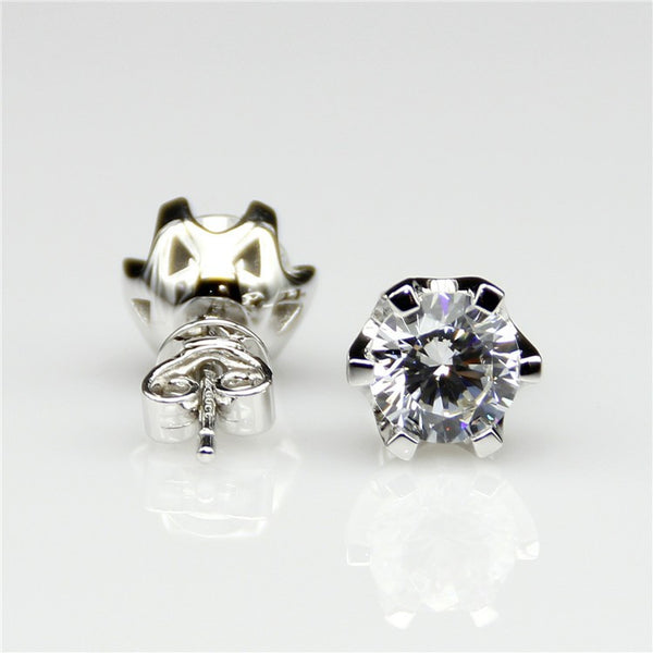 Tulip Style Solitaire Stud Earrings