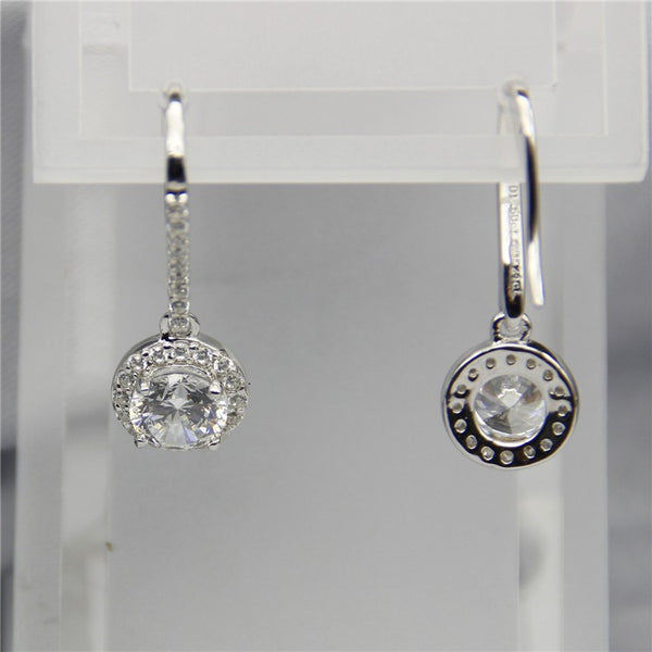 Halo Drop Style Total 1.6CT Earrings