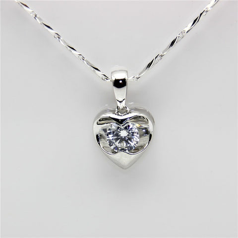 Heart Solitaire Pendant - Silver