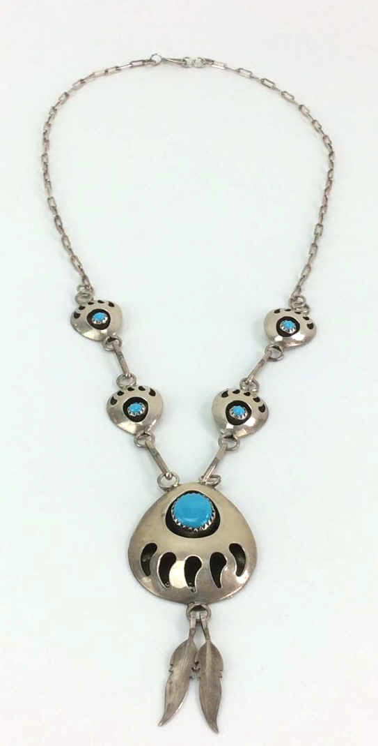 Sterling Silver and Turquoise Bear Paw Necklace
