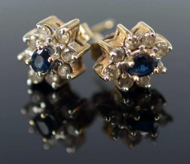 14K Yellow Gold, Topaz and Diamond Earrings