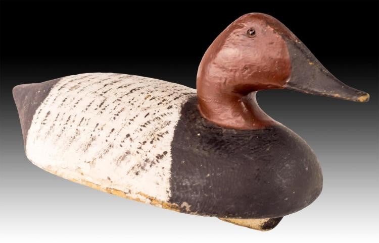 Vintage Wooden Duck Decoy With Glass Eyes
