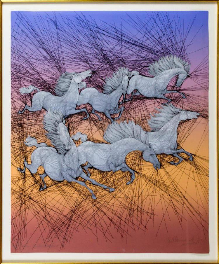 Vintage Lithograph Triptych of Horses by Guillaume Azoulay