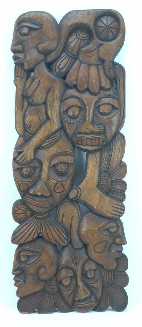 Hand Carved Tribal Wall Plaque