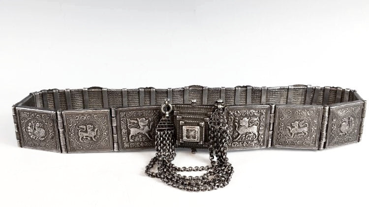 Antique Old Silver Arapatti Indian Tribal Belt