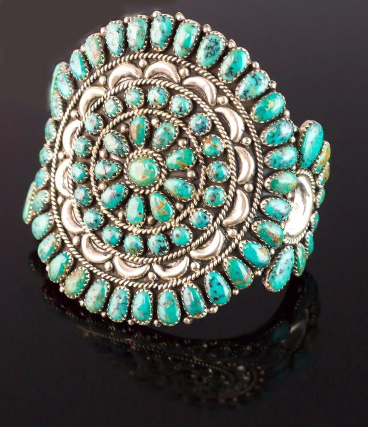 Native American Sterling Silver and Turquoise Cuff Bracelet by Jerry and Wilma Begay