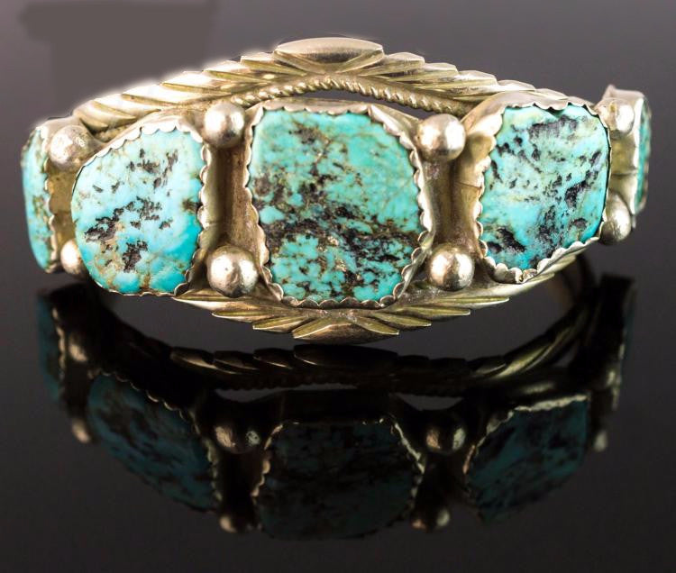 Native American Silver and Turquoise Cuff Bracelet