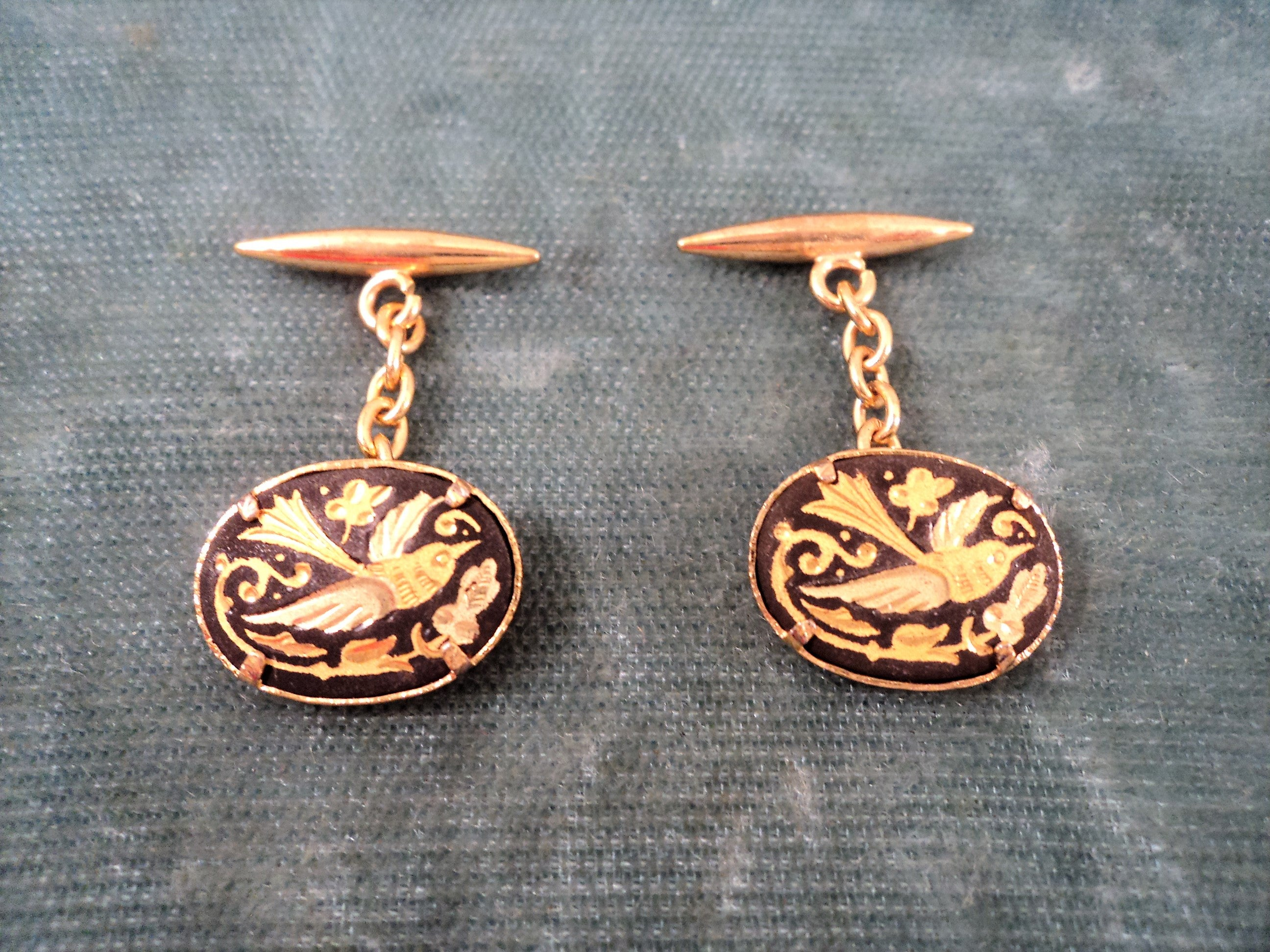 Vintage 24K Gold Foil Inlay Damascene Cuff Links