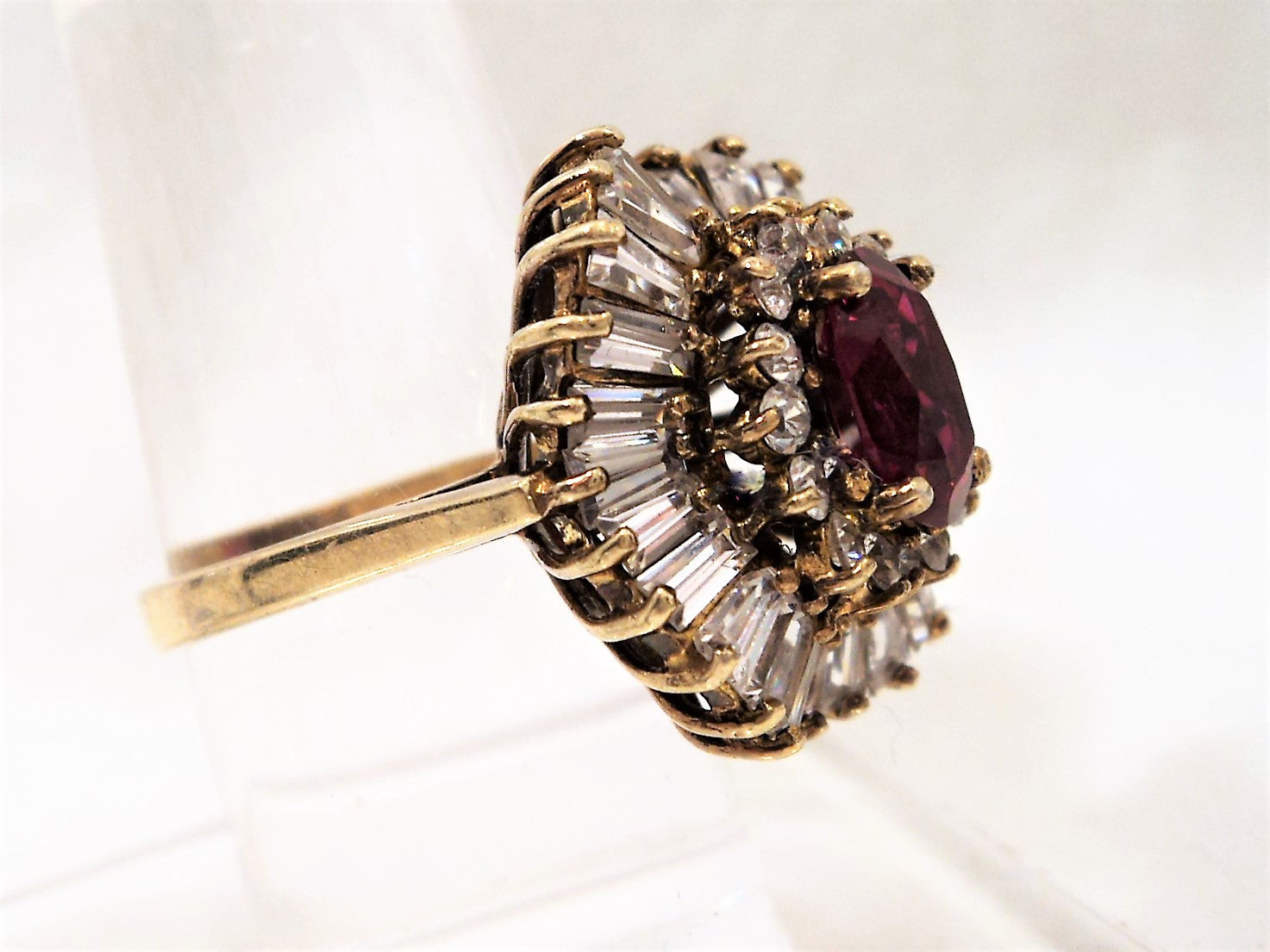 Gold Over Sterling Silver Ring with Faux Ruby and Cubic Zirconia