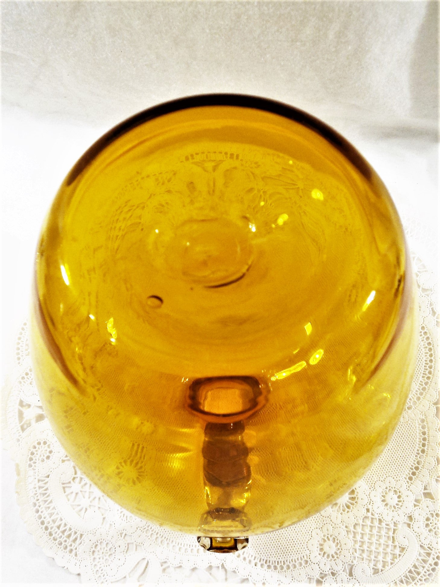 Vintage Amber Yellow Hand-Blown Glass Jug