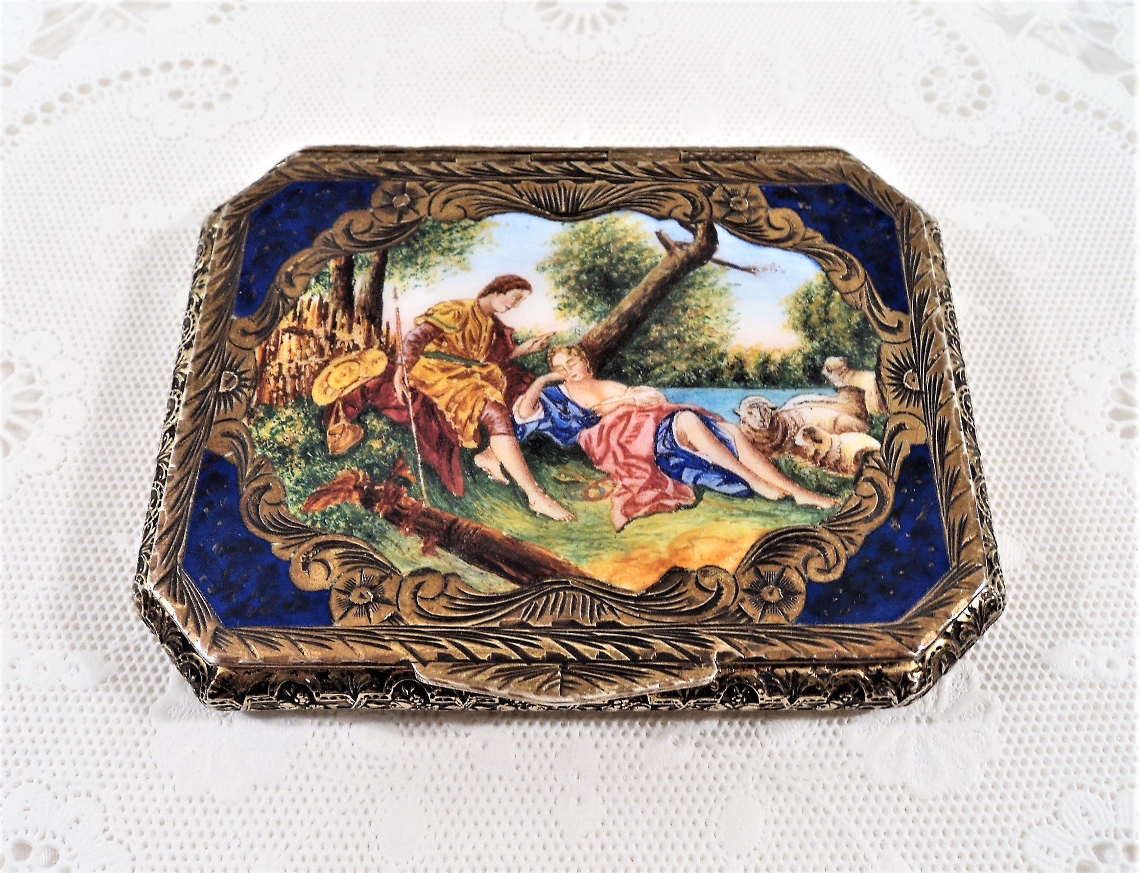 Italian Silver Hand-Painted Gilt and Enamel Compact