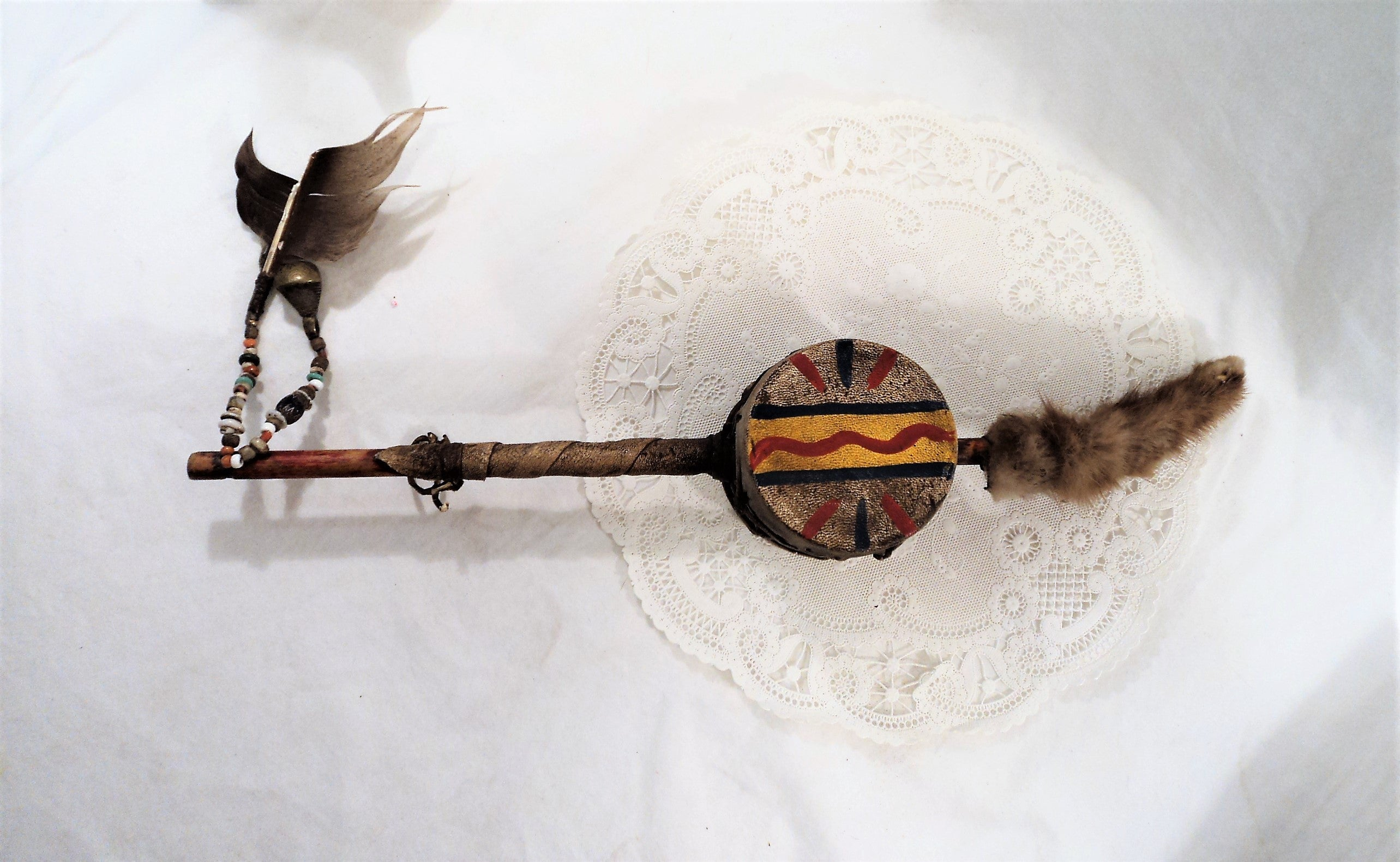 Antique Native American Rawhide Wrapped Drum Rattle