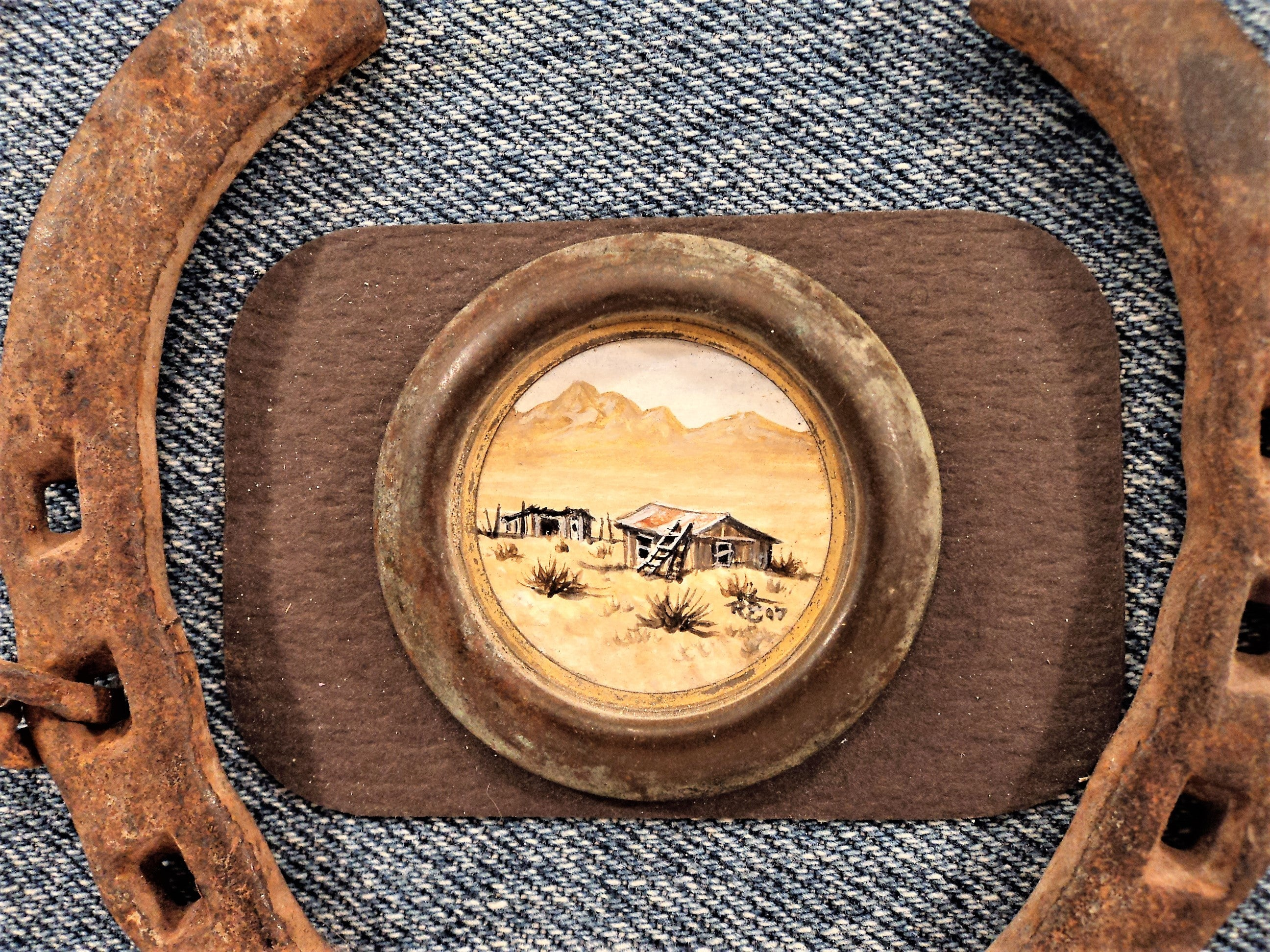 Southwestern Horse Shoe Wall Hanging with Original Painting