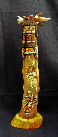 Signed Kachina Maiden Sculpture by Wally Grover