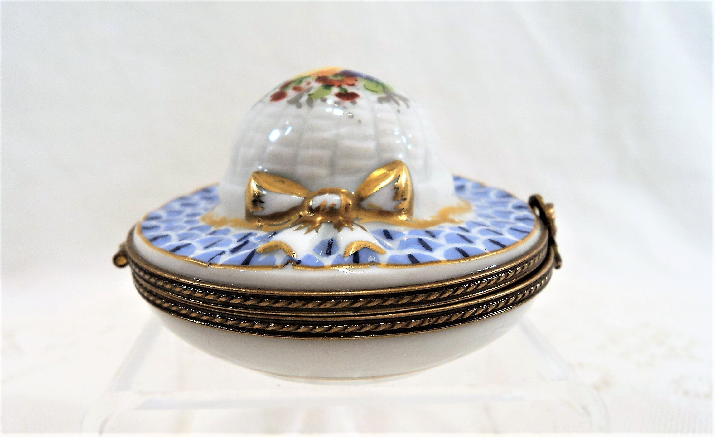 Hand-Painted Blue Hat Limoges Trinket Box