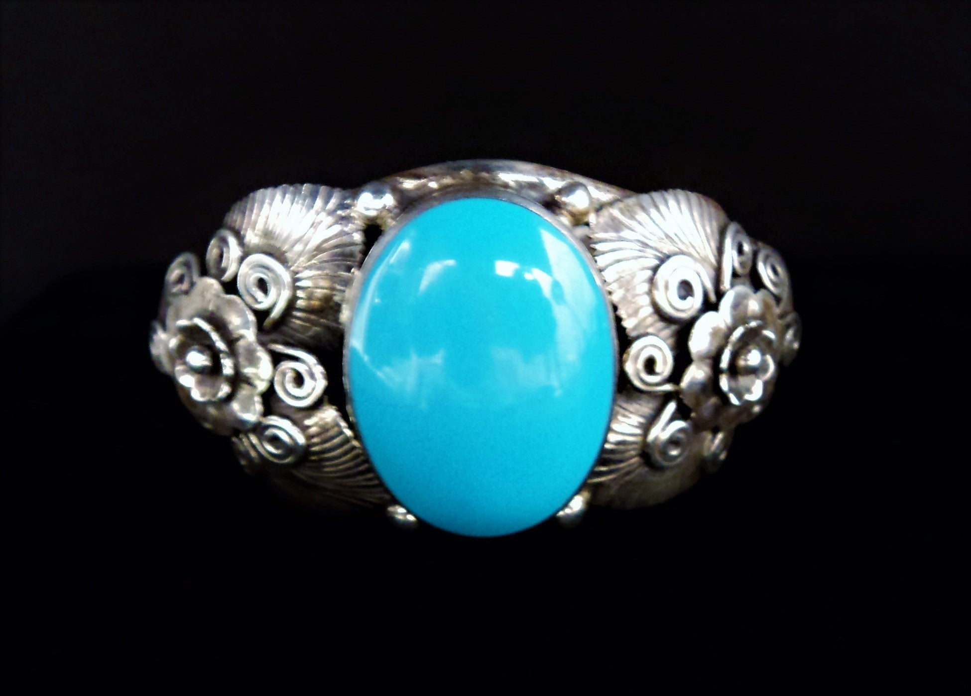 Vintage Native American Turquoise and Silver Cuff Floral Bracelet