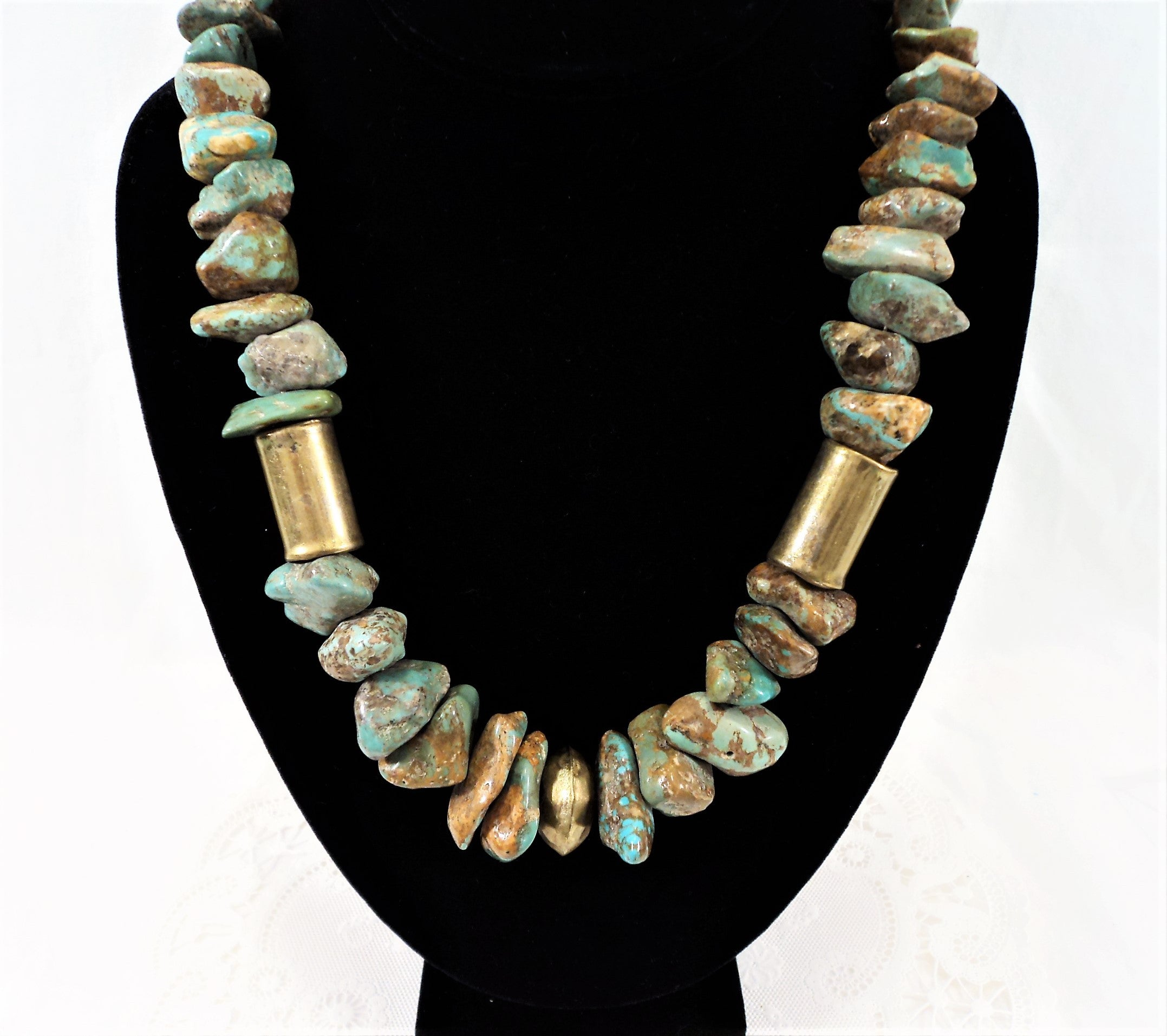 Vintage Native American Brass Beads and Turquoise Nuggets Necklace