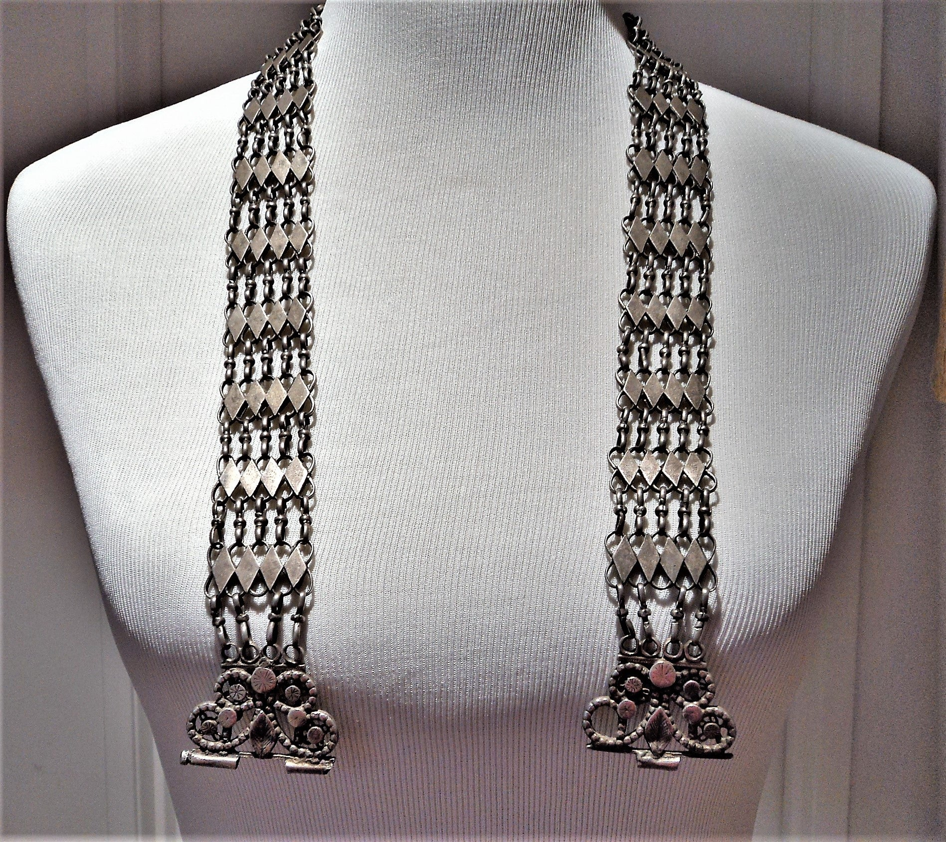 Antique Old Silver Tribal Bedouin Chain Link Belt