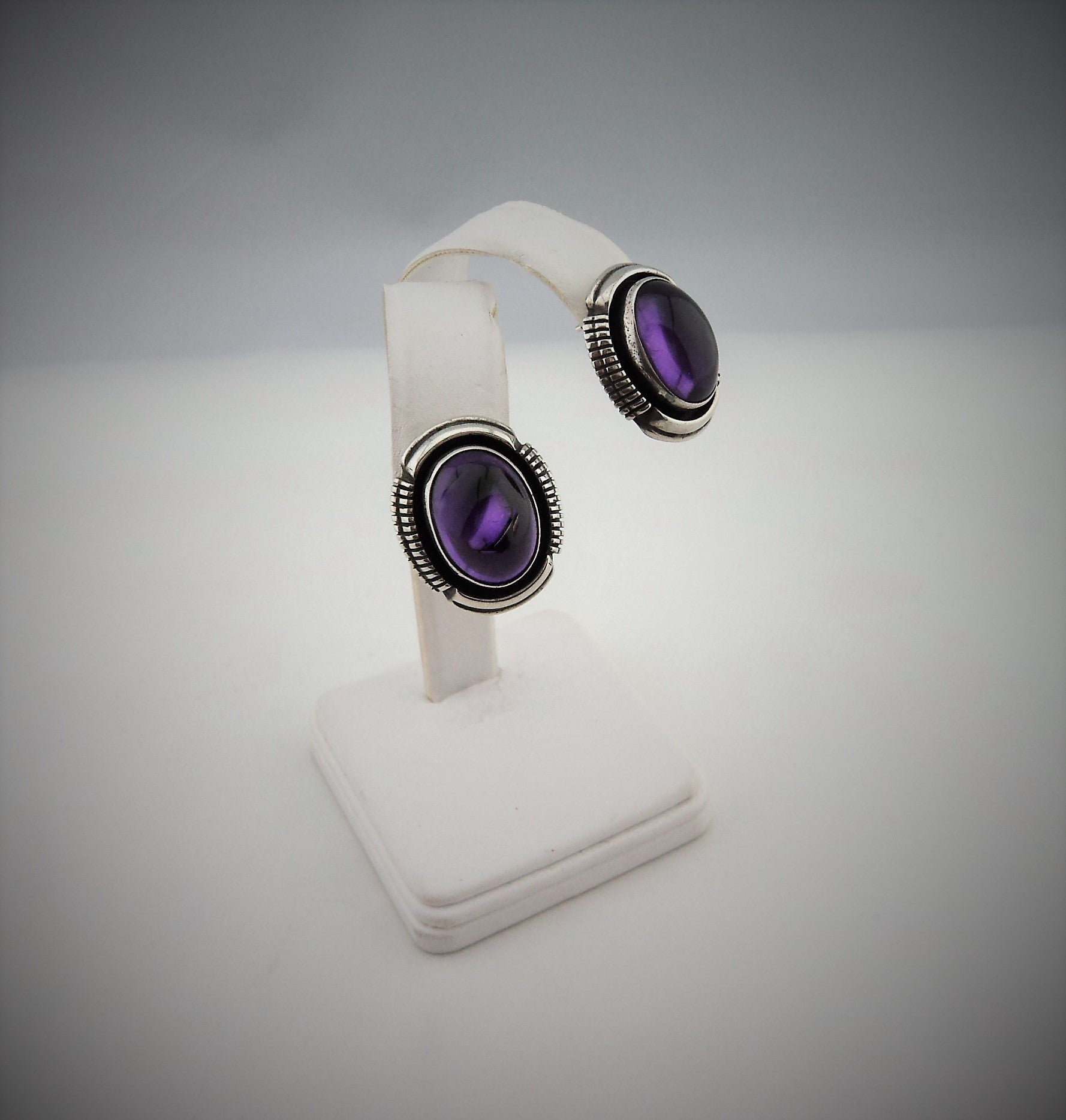 Leo Yazzie Sterling Silver Amethyst Earrings
