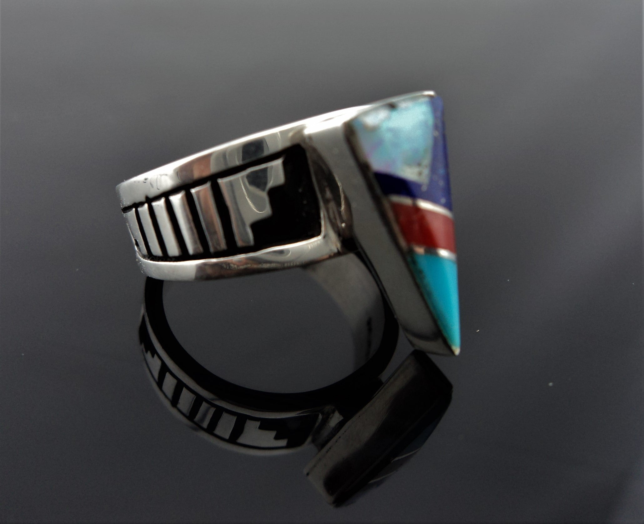 Abraham Begay Navajo Inlay Sterling Silver Ring