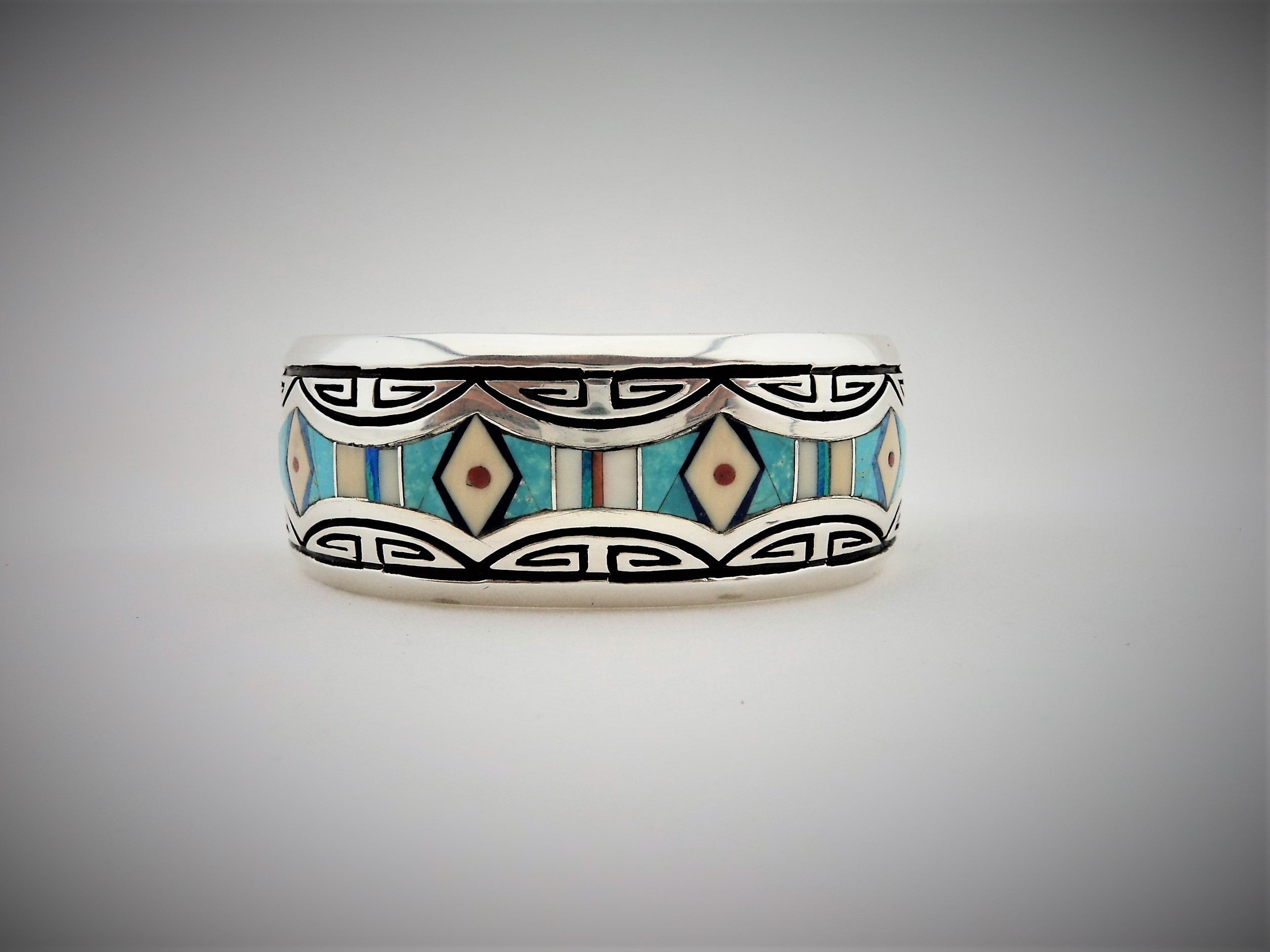 Abraham Begay Sterling Silver Turquoise Inlay Cuff Bracelet