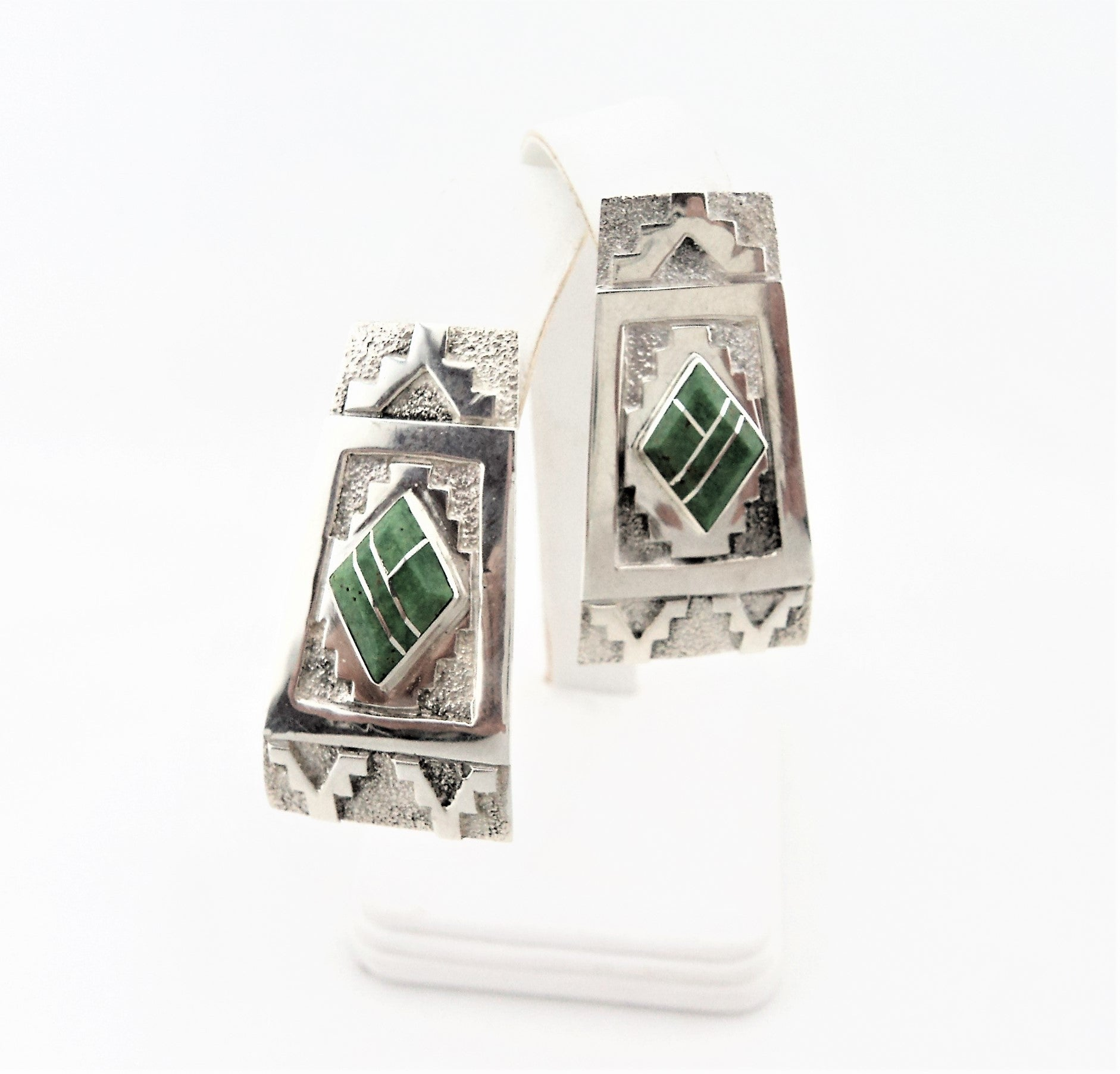 Abraham Begay Navajo Sterling Silver & Green Turquoise Earrings