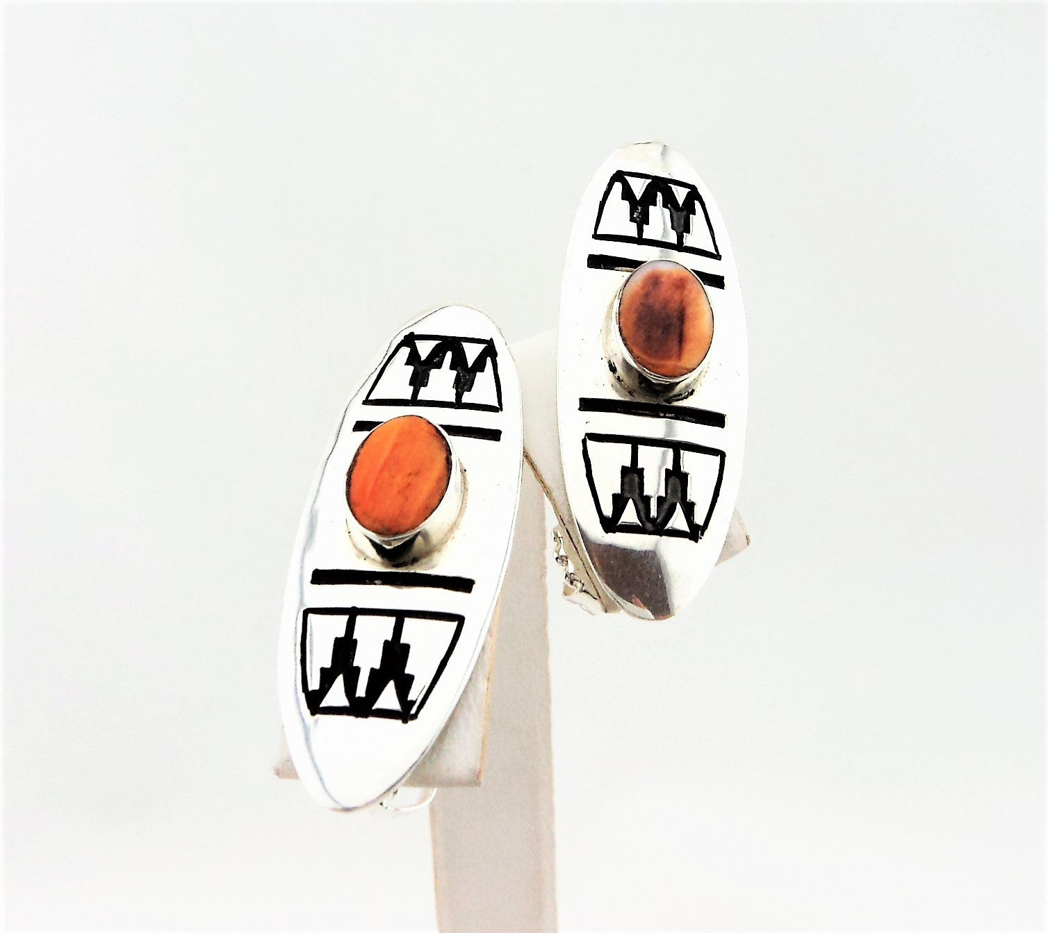 Abraham Begay Navajo Oval Sterling Silver & Spiny Oyster Earrings