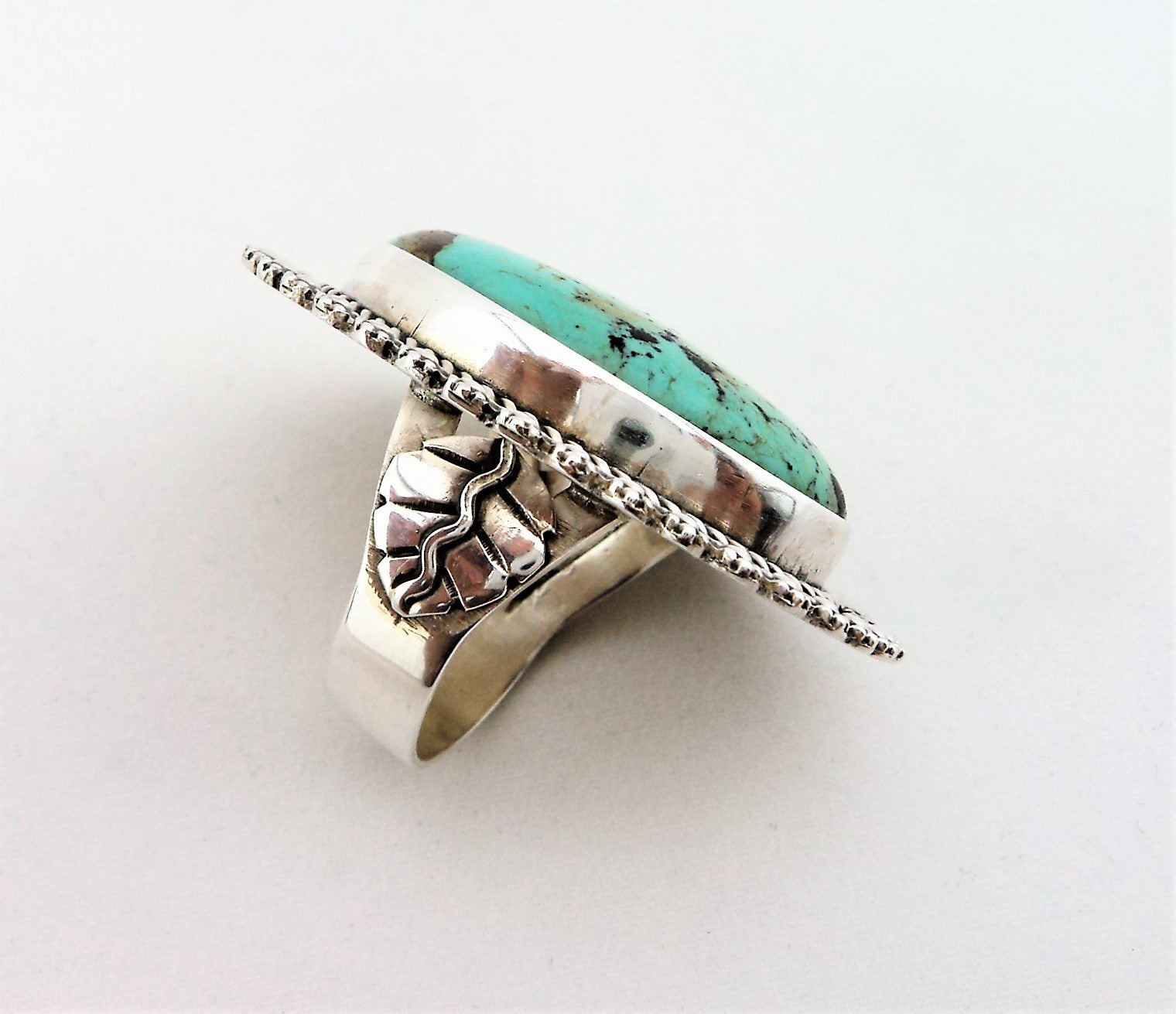 Native American Sterling Silver and Large Turquoise Ring