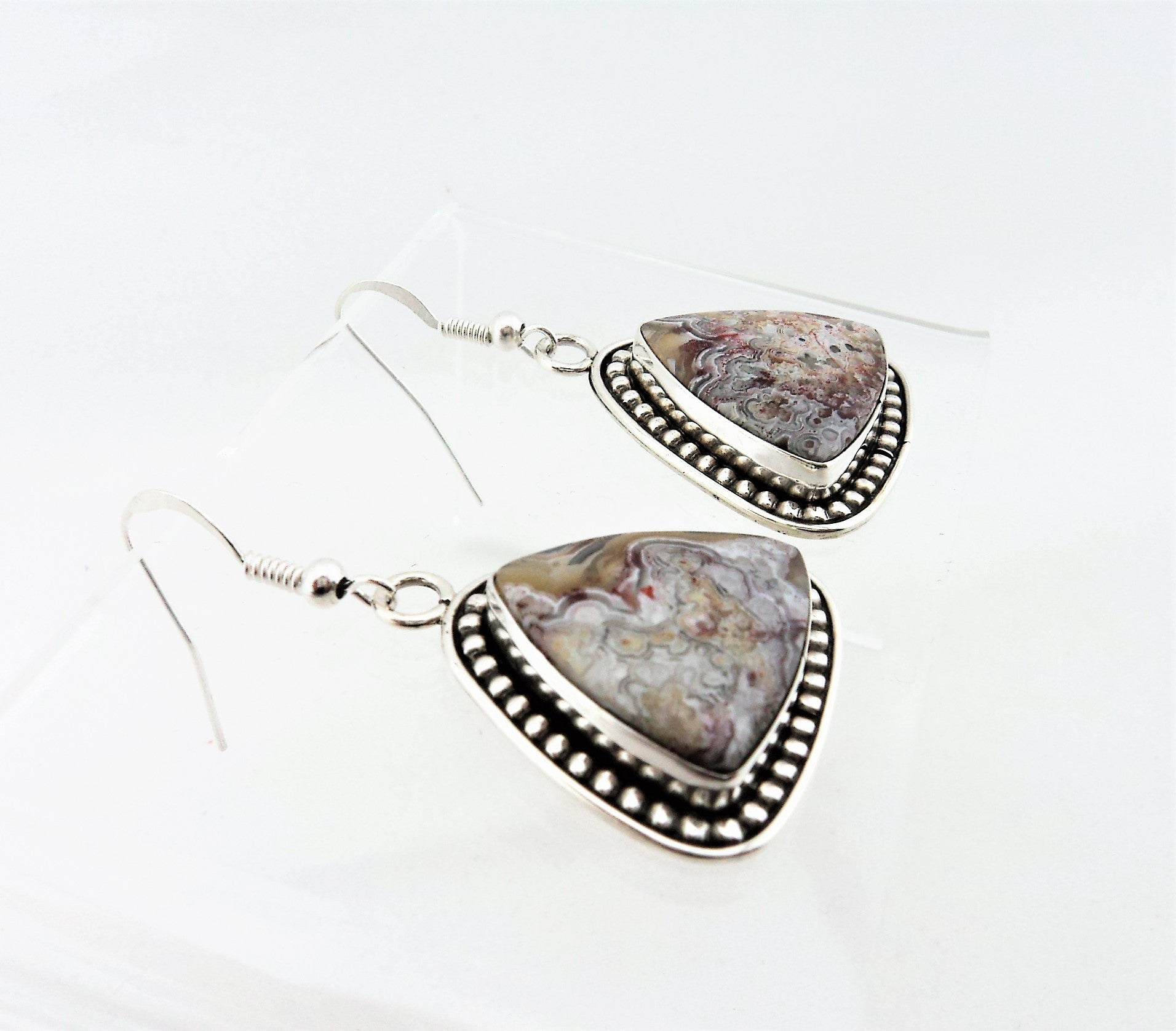 Sam Edsitty Navajo Sterling Silver and Lace Agate Earrings