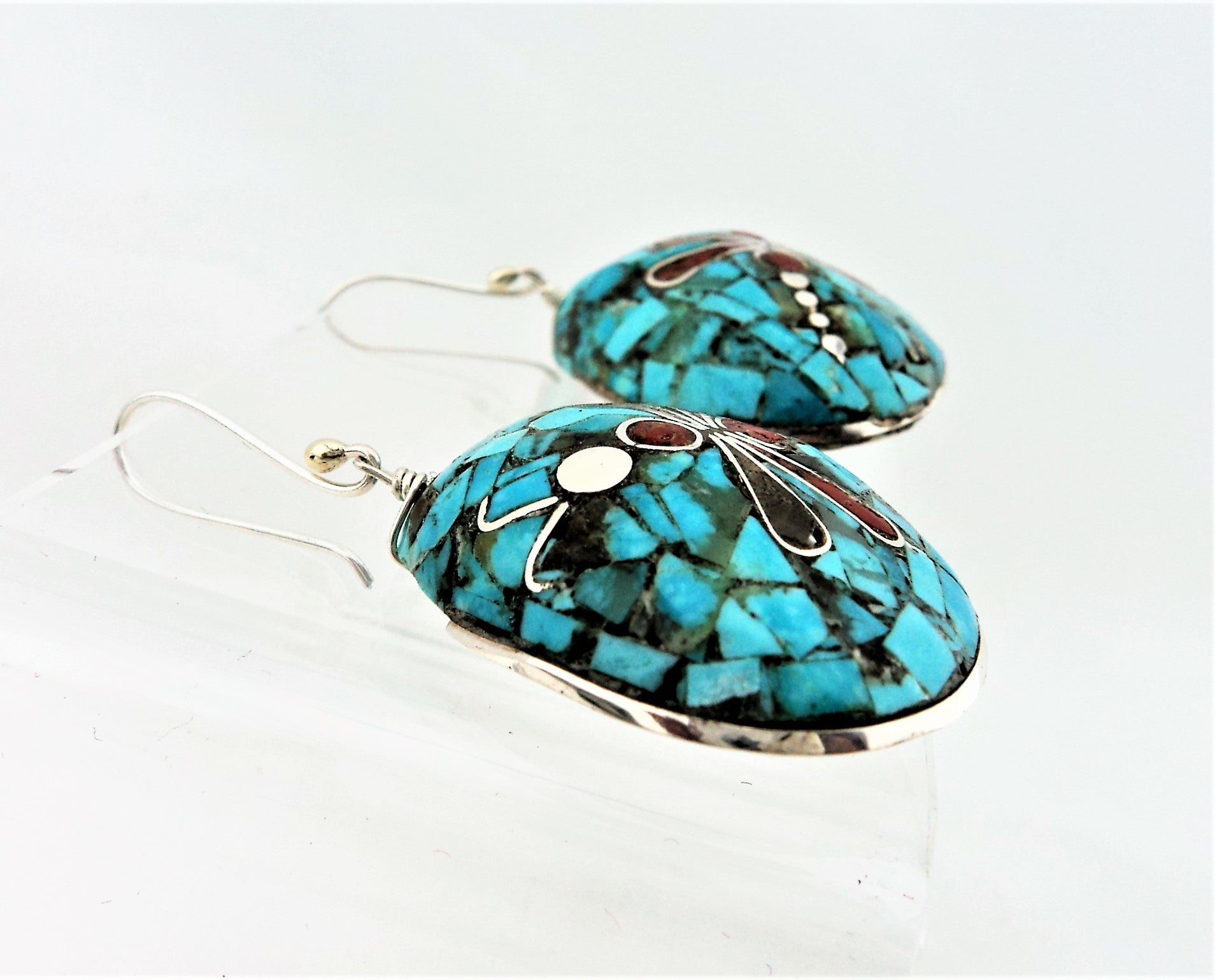Santo Domingo Stone on Shell Mosaic Jewelry by Mary Coriz
