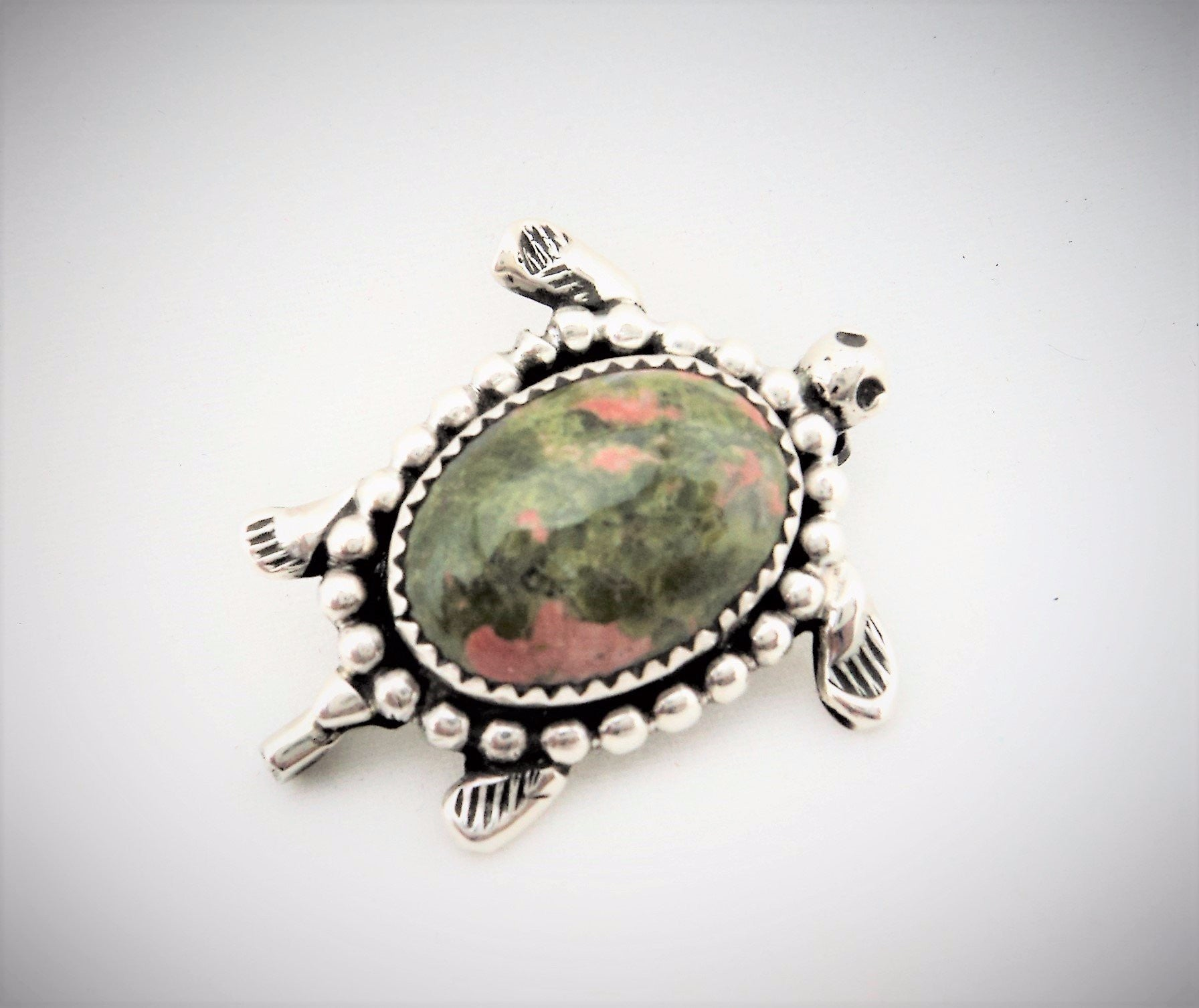 Santo Domingo Sterling Silver and Unakite Turtle Pin by John Aguilar