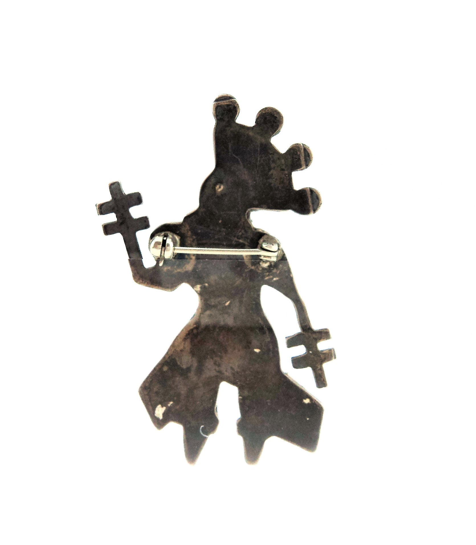 Vintage Native American Silver and Gemstones Kachina  Dancer Brooch