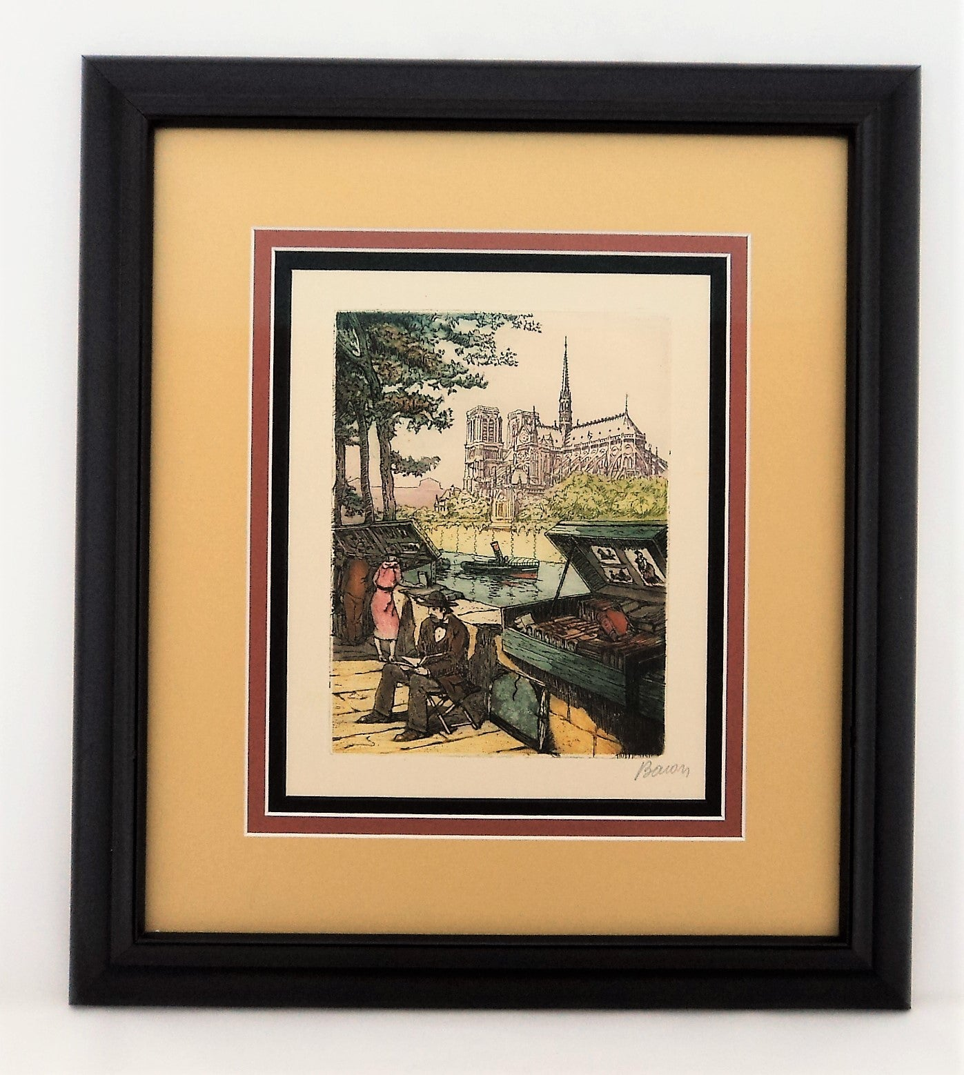 Marcel Julien Baron Colored Etching