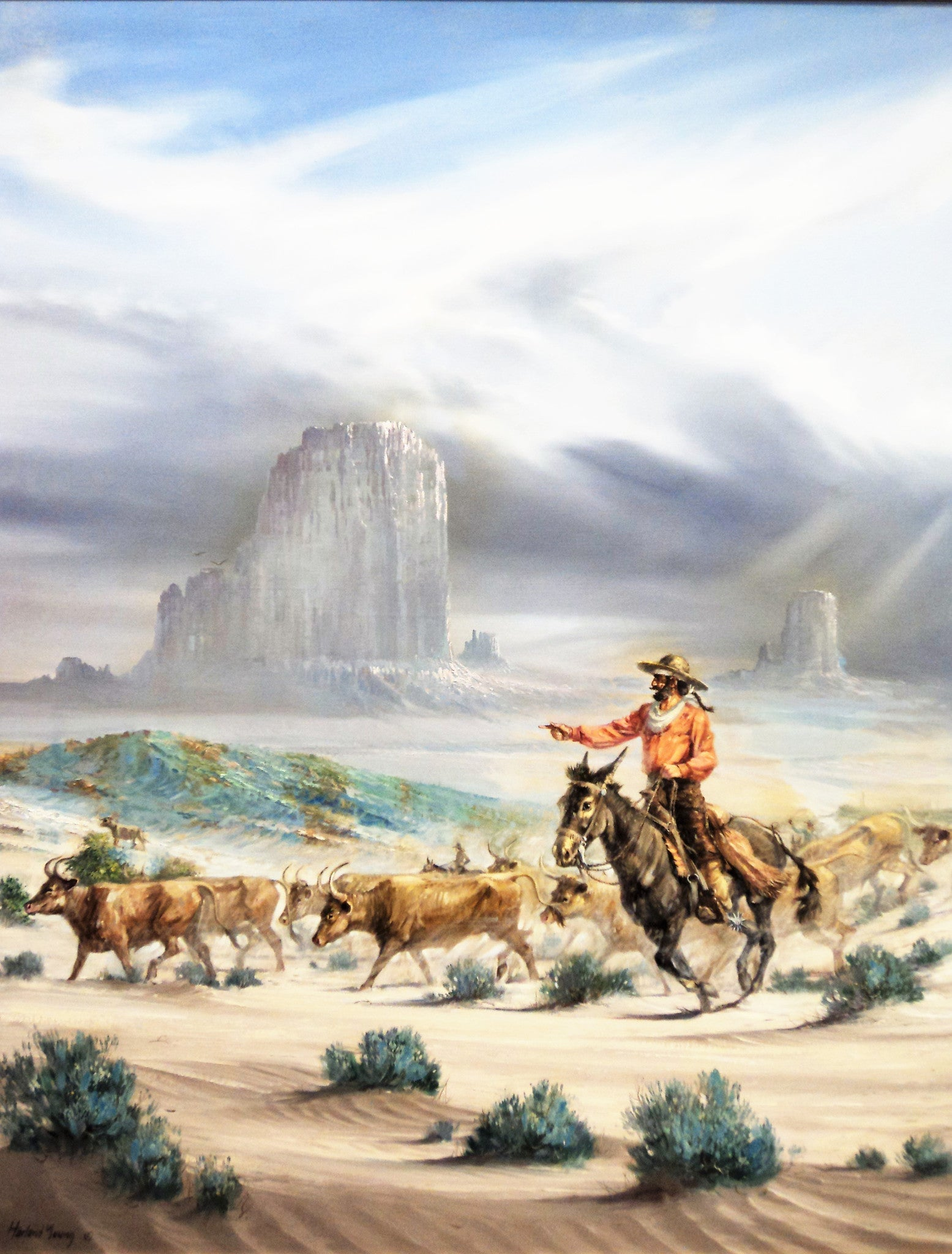 Harland Young (1924-2015) Western Oil Painting