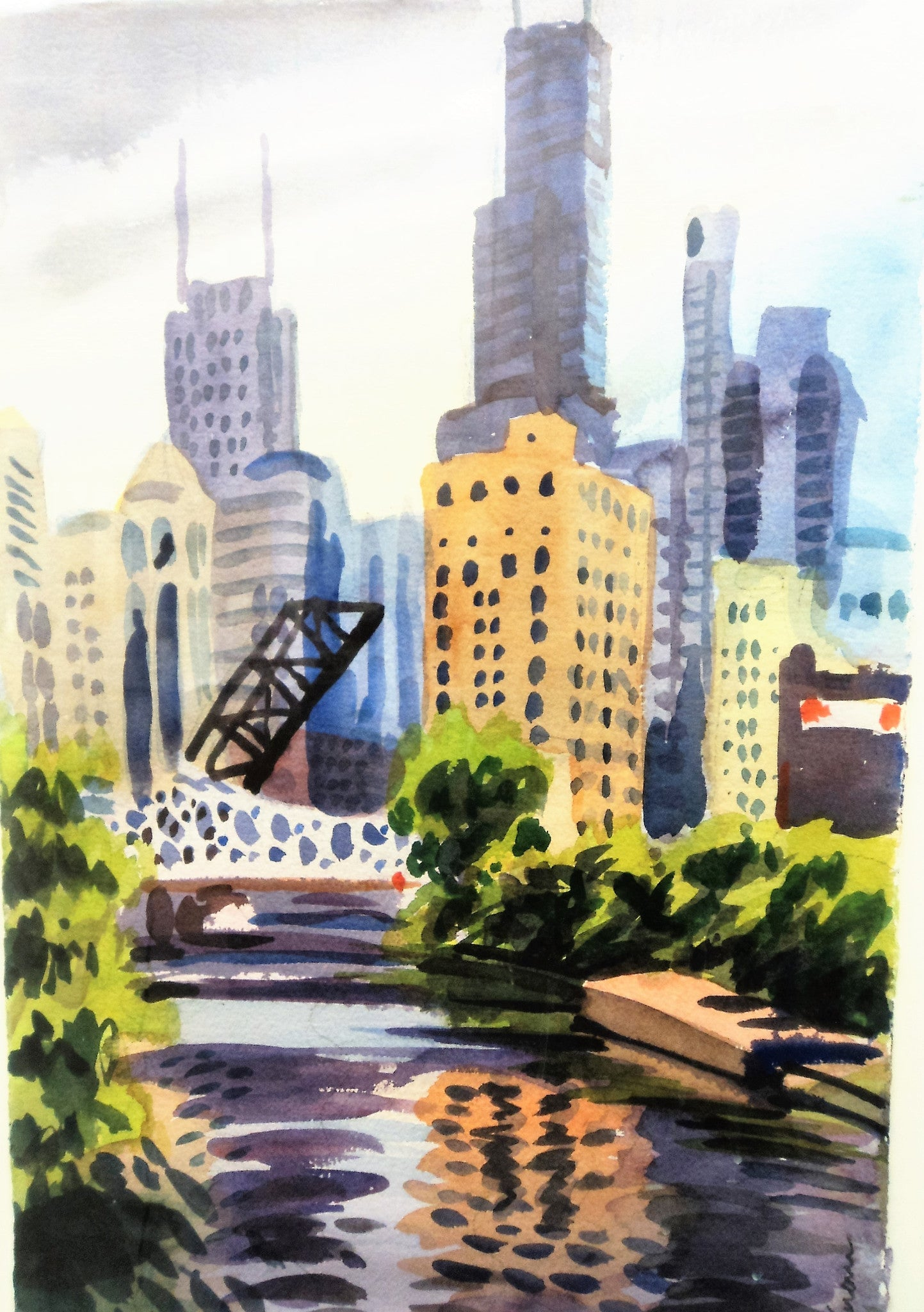 Greg Sobran (20th/21st C.) City Scape Watercolor